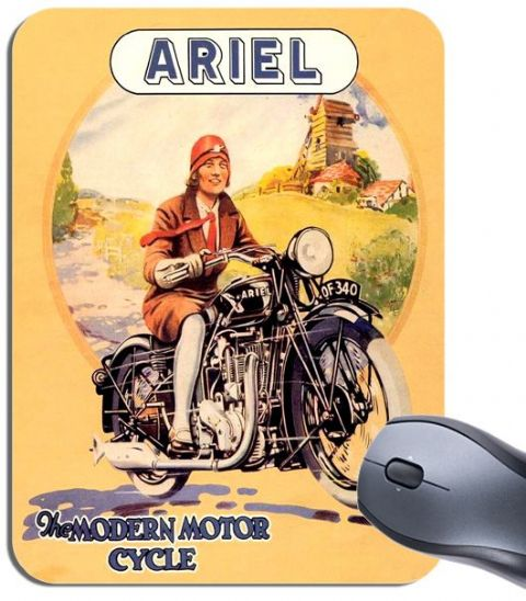 Vintage Ariel Motorcycle Ad Mouse Mat. Classic Bike Brochure Motorbike Mouse Pad